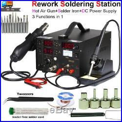 3in 1 Rework Station Soldering Kit With Hot Air Gun Solder Iron DC Power Supply US